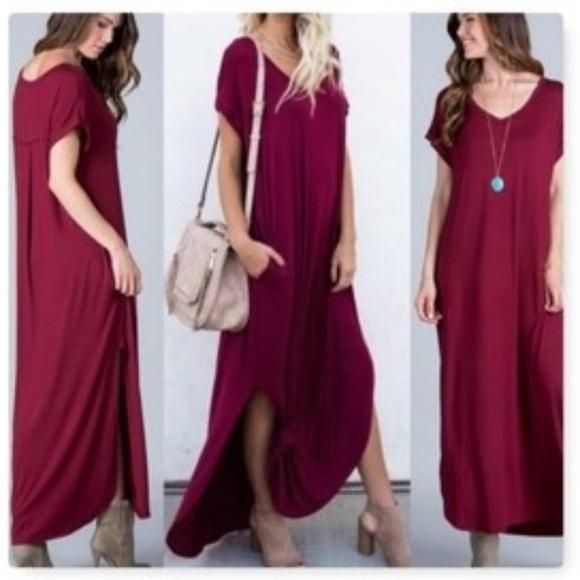 f6b3b6f3d7fe Boutique Dress Dresses   Skirts - Oversized T-Shirt Maxi Dress w Pockets Sz